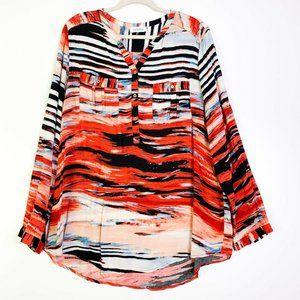 Calvin Klein Abstract Pockets Long Sleeve Blouse